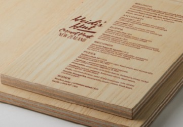 Menu Printed onto Plywood